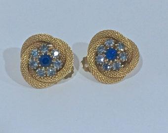 Vintage Blue Rhinestone and Gold Mesh Earrings Clip On Earrings Beautiful