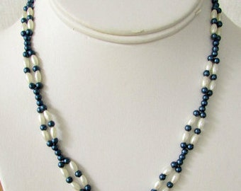 vintage 60s navy and pearl bead necklace hand made