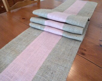 Pink and Natural Table Runner Easter Table Runner Burlap Table Runner Color Block Runner Blush Pink Home Decor Blush Pink Table Setting