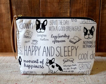 FRENCHIE French Bulldog Canvas Cosmetic Bag, Zipper Pouch, Make-Up bag, Holiday Gift, Travel Bag