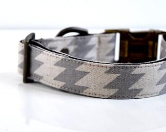 Cotton Linen Zig Zag Dog Collar - Gray- Antique Brass