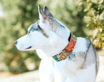 Sakura Cherry Blossom Dog Collar - turquoise blue, orange - Pink Buckle