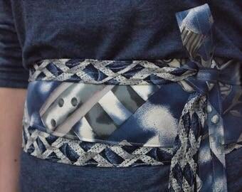 Mediterranean - Vintage Upcycled Neckties Obi Corset Belt Grey Blue Cream