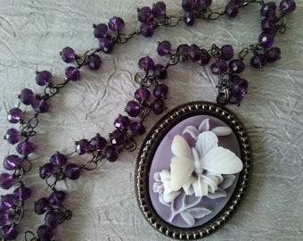 Purple butterfly cameo necklace