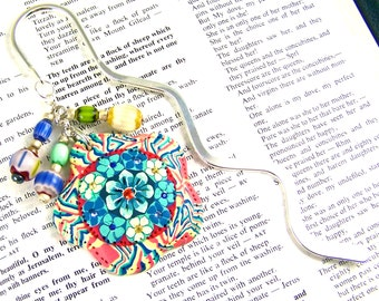 Bookmark - Polymer Clay Millefiori Flowers 50mm Focal Piece with Squiggle Shepherd Hook and Glass Beads