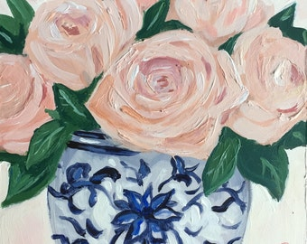 Original painting: Roses in blue and white vase , mini painting , contemporary floral, Chinoiserie, blush, pink , home decor
