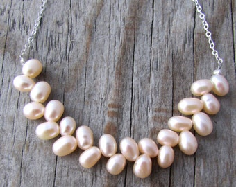 Pearl Necklace, silver strung pearls, egg pearls necklace