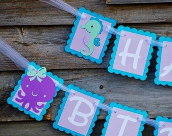 Under the Sea Girly Teal and Purple Happy Birthday Banner, Octopus Seahorse