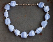 Blue Agate Necklace - Chunky Short Necklace - Marble Stone and Fresh Water Pearls - Sterling Silver