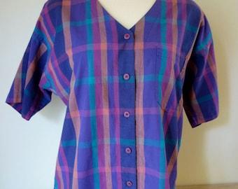 1980s Purple Plaid Blouse by Jones New York, Size 10