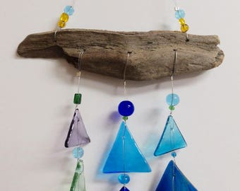Recycled Stained Glass Triangles and Wood Wind Chime