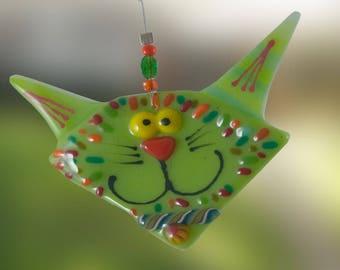 Ornament - Cat Fused Glass
