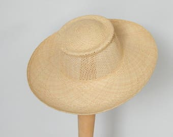 wide brim straw hat / women's Panama hat / Audrey Hepburn summer hat / sun protection hat made in Israel
