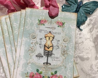 XL Gift Tag Set French Collage Mannequin ( Set of 6 ) Notecards, Stationery, Scrapbooking, Journals, Gift Item, Gift Wrapping