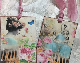 Vintage Women Of Music Gift Tags, Notecards, Stationery, Party Favors, Scrapbooking, Journals