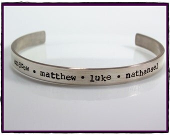 Sterling Silver Hand Stamped Adjustable wide Cuff Bracelet -Personalized With Your Words