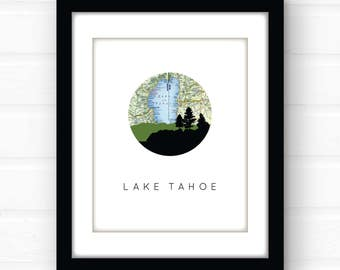 Lake Tahoe art print | Lake Tahoe map art | lake house decor | lake signs | California wall art | Nevada art print | lake wall art print