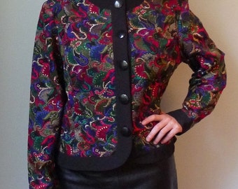 50%WINTERSALE 90s black multicolor embroidered crop jacket L