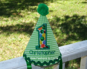 Personalized Green Gingham Hat with Abstract dot number