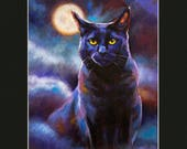 "Mystic Kitty 14x11"" Print with Black Mat of Original Oil Painting of Black Cat in Mist with Full Moon Feline Fine Art Print Colorful Cat Art"