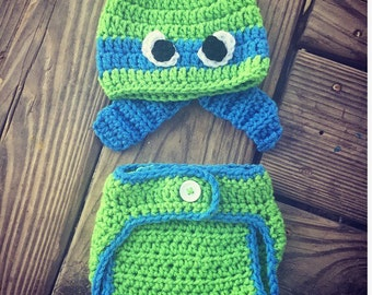 Newborn Baby Crochet Green Blue TMNT Turtles Eyes Bandana Beanie Hat & Diaper Cover Set ~ Super Cute Photo Prop