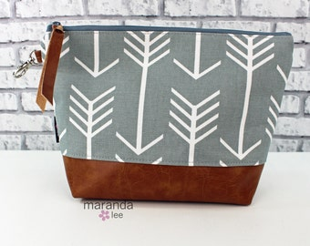 AVA Clutch -Large - Grey Arrows with PU Leather Cosmetic  READy to SHIp  Archer