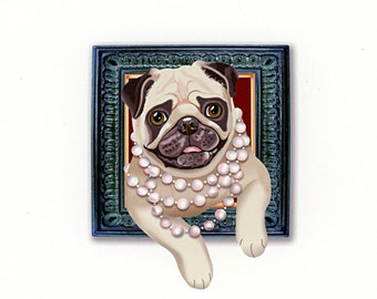 Pug Tiny Art Print - Tan - Dog Art Print - Tiny Fawn Pug with Pearls in a Frame