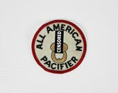 Vintage 1970s Biker Patch All American Pacifier Motorcycle Round Dirty Humor