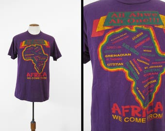 Vintage 90s Africa T-shirt African Heritage Purple Faded Tee Made in USA - Size Large