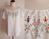 Vintage Peasant Blouse - 1970's Embroidered Blouse  - Size M