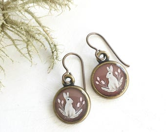 Easter Jewelry, Bunny Earrings, Made from an original painting, Easter Bunny Rabbit