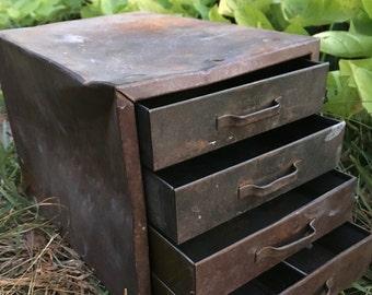 Vintage metal box of drawers, metal tool drawer, vintage tool box