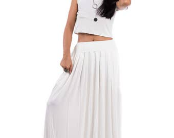 Maxi Skirt, Off White Skirt, Long White Skirt, Women's skirt, White skirt, Skirt with pockets, pleated skirt : Urban Chic Collection No.2