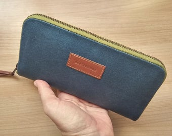 Large womens wallet - Large waxed canvas blue and moss wallet - Gift for her- Mothers day gift- Minimal wallet