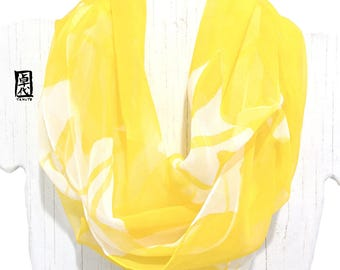 Fashion Boho Scarf, Yellow Circle Scarf, Chiffon Scarves, Silk Loop Scarves, Hand painted Silk Scarf, Yellow Day Lilies Scarf, Made to order