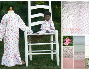 2016 Flannel Nightgown  size 2 to girls size 16 choose your fabric ..Listing for nightgown only...no doll