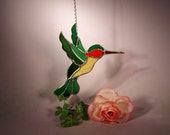Stained Glass Suncatcher Hummingbird with Ruby Throat  (654)