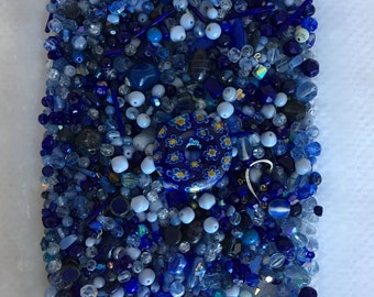 Dark Blue Vintage Czech Glass and Crystal Lot - 770 grams!