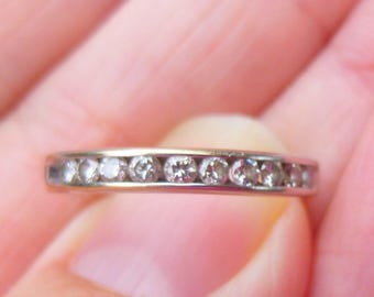Beautiful  14Kt yellow and white gold and diamond wedding band  with30 points of diamonds