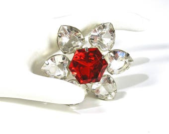 Rhinestone Flower Brooch, 1950's Floral Pin,  Clear Rhinestones, Heart Shaped, Red, Glass Stones, Silver, Prong Set, Gift Idea, Excellent