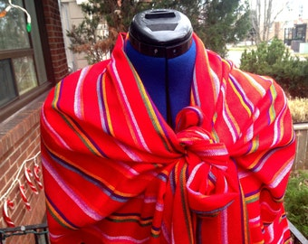 Red 3 yard Rebozo, Red Stripes Mexican Cambaya Shawl Long Scarf, Tribal Wrap, Doula and Midwife Labour Tools Baby Shower Gift, Aztec Fashion