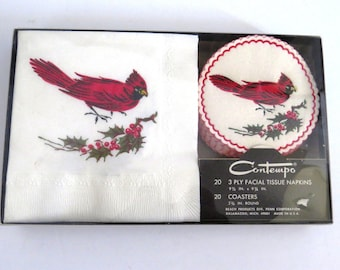 Vintage Red Cardinal Napkins and Coaster Set by Contempo - New in Package - Barware - Entertaining - Party Time - Bird Watcher Collectors