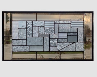 Beveled clear glass transom stained glass window panel geometric abstract stained glass panel window panel large 0186 21 x 11 1/2
