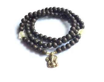 Citrine + Wooden GANESHA mala necklace