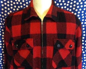 1950's-1960's zip-up buffalo plaid wool cruiser jacket, XL