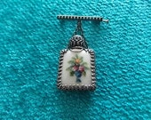 Vintage Glass Perfume Bottle Petit Point Brooch Pin LOVELY