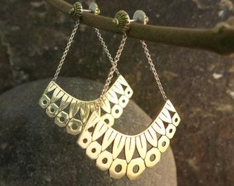 Zinnia Brass and Sterling Silver Earrings