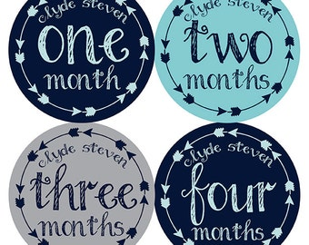 FREE GIFT, Personalized Baby Month Stickers, Name Month Stickers, Boy, Arrows, Tribal, Teal, Navy, Gray, Monthly Baby Stickers Boy, Monogram