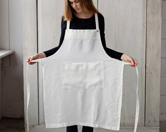 White Apron, Linen Dress, Traditional Apron, Midi Dress, Long Apron, Cooking Apron, Kitchen Apron, Garden Apron, Cleaning Apron