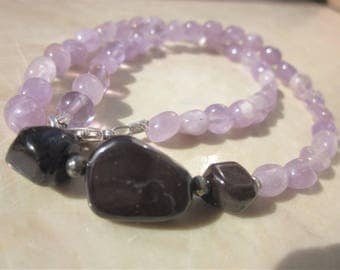 Sugilite and lavendar Amethyst Necklace: healing through acceptance